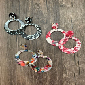Linked Dual Round Dangling Drop Earrings - 3 colors