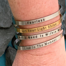 Load image into Gallery viewer, Positive Quote Open Cuff Bangles Bracelets