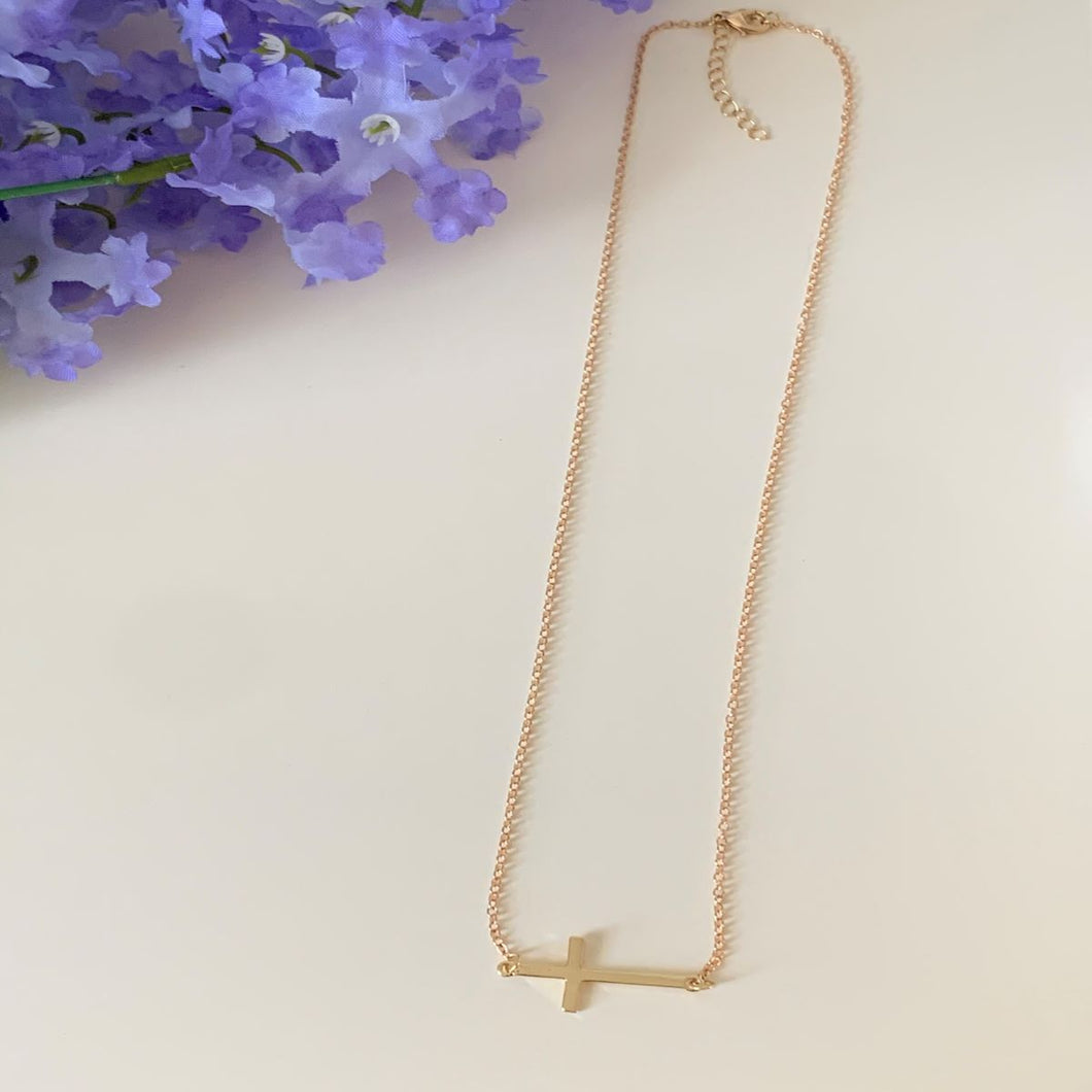 Sideways Cross Charm Necklace (Gold & Silver Options)