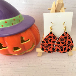 Halloween-O-Rama Teardrop Faux Leather Earrings
