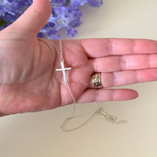Load image into Gallery viewer, Sideways Cross Charm Necklace (Gold & Silver Options)