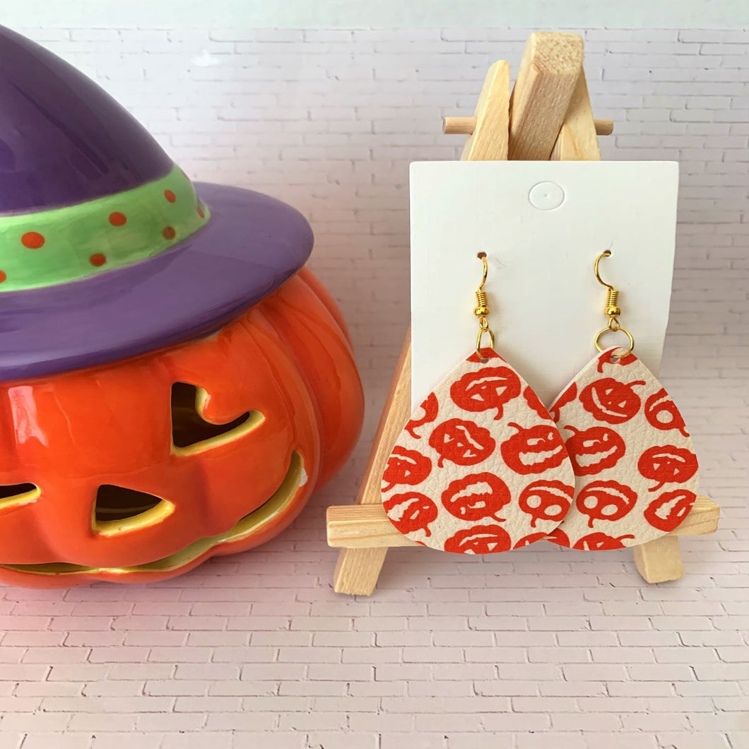 My Many Pumpkin Faces Halloween Teardrop Faux Leather Earrings - Beige