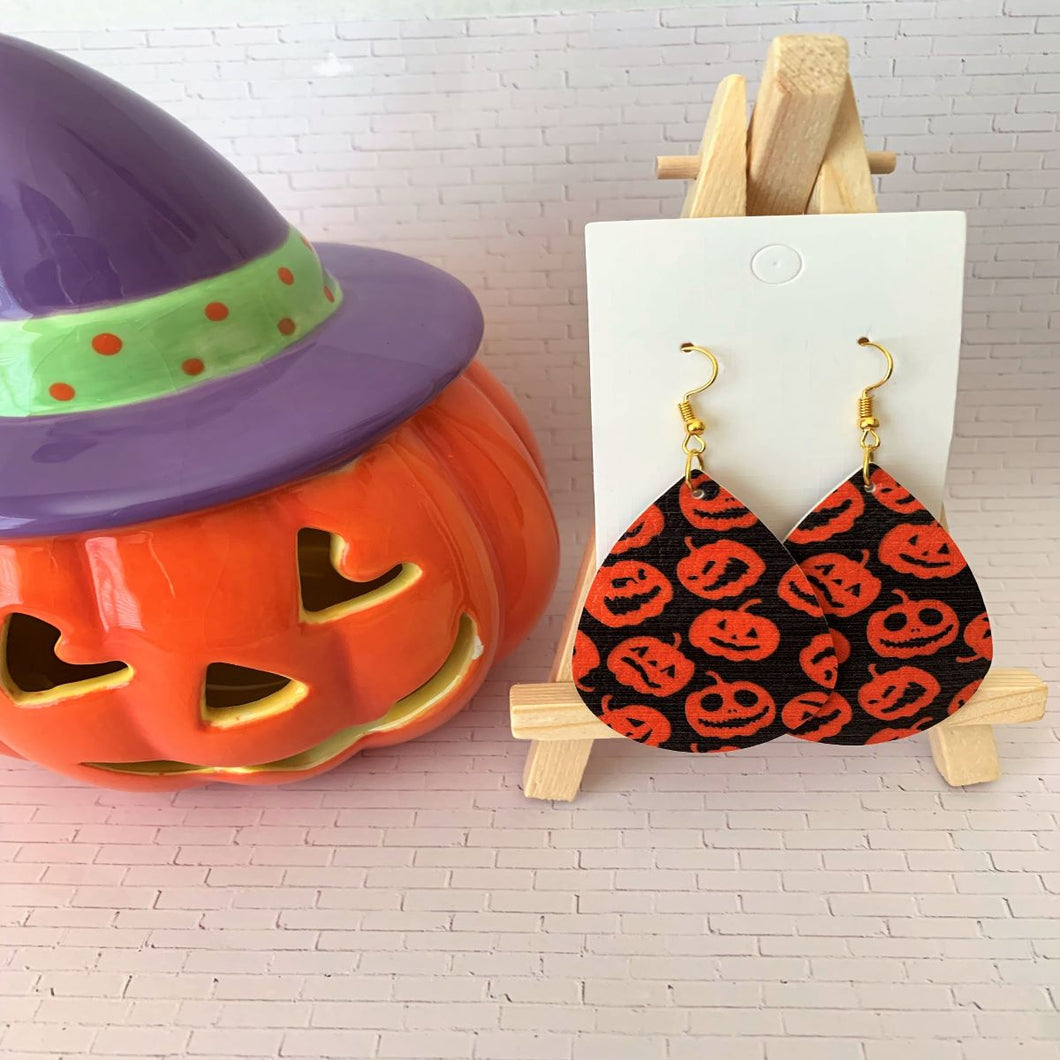 My Many Pumpkin Faces Halloween Teardrop Faux Leather Earrings - Black