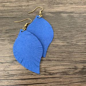 Suede Leather Leaf Earrings