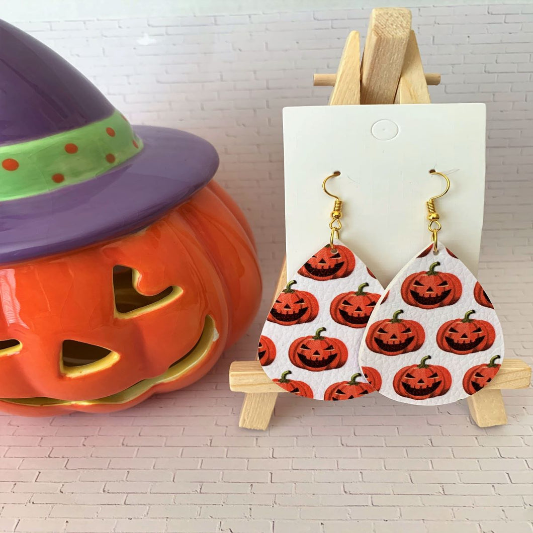 The Happy Pumpkin Halloween Teardrop Faux Leather Earrings