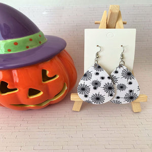 Oh My Webs Halloween Teardrop Faux Leather Earrings