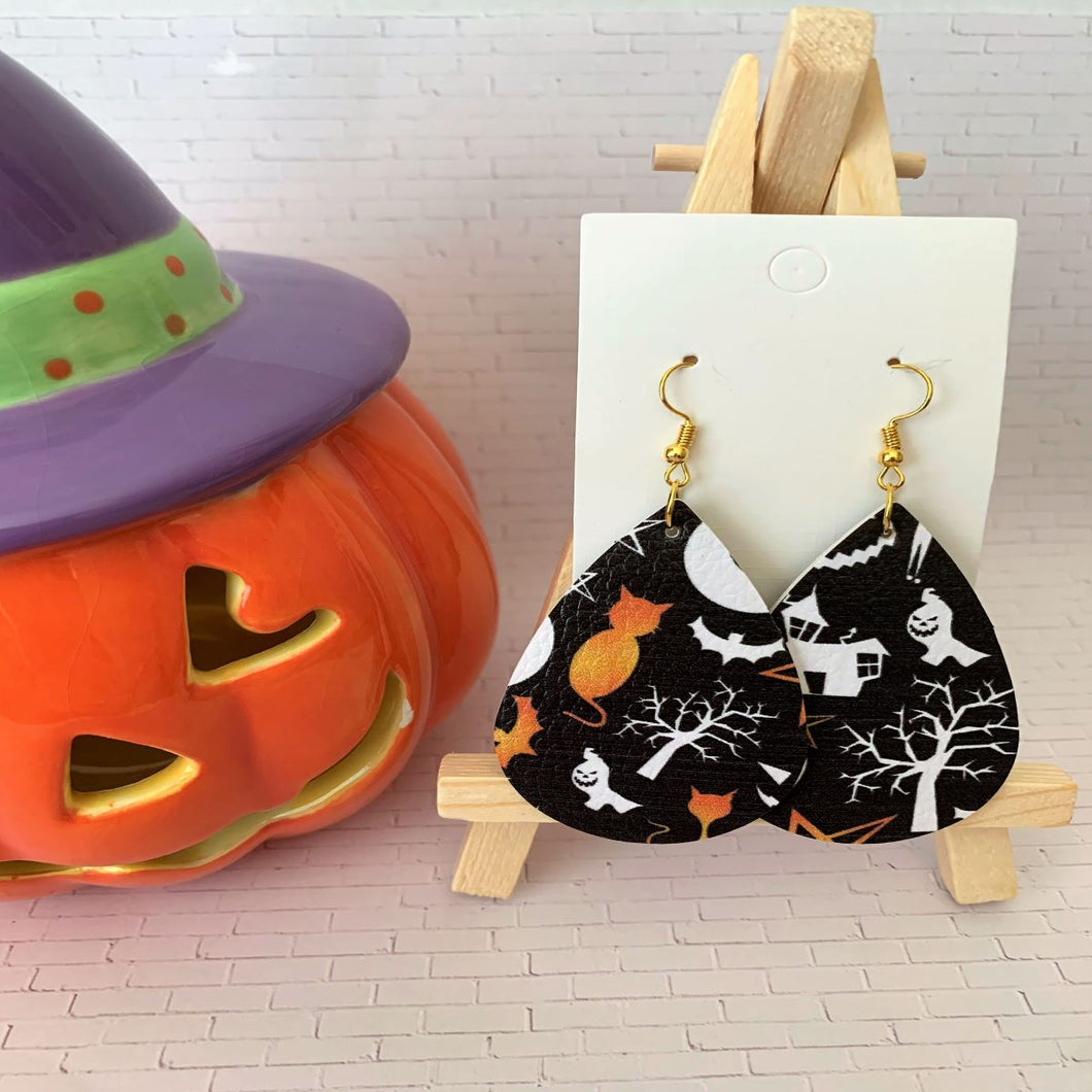 Haunted House Halloween Teardrop Faux Leather Earrings