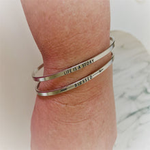 "Load image into Gallery viewer, Inspirational Message ""My Story Is Not Over Yet"" Skinny Bracelets (Gold option)"