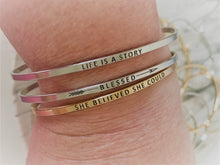 "Load image into Gallery viewer, Inspirational Message ""She Believed She Could"" Skinny Bracelets (Gold & Silver option)"