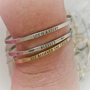 "Inspirational Message ""My Story Is Not Over Yet"" Skinny Bracelets (Gold option)"