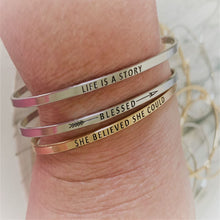 "Load image into Gallery viewer, Inspirational Message ""All I Need Is Within Me"" Bracelets (Gold & Silver option)"