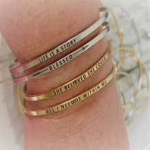 "Load image into Gallery viewer, Inspirational Message ""Blessed"" Skinny Bracelets (Gold & Silver option)"