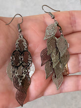 Load image into Gallery viewer, Dangling Filigree Leaf Earrings - (Gold, Silver and  Hematite options)