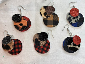 Glitter My Cheetah 3 Layer Circle Faux Leather Earrings