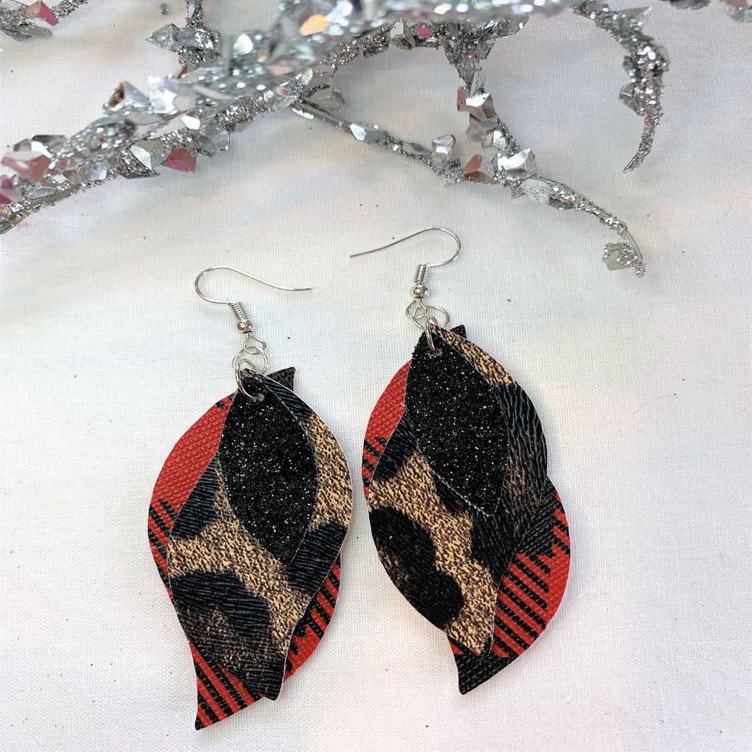 Oh My Leopard  3-Layered Wave Faux Leather Earrings