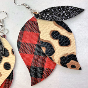 Dear Me It's Buffalo Plaid and Leopard 3 layer Wave Faux Leather Earrings