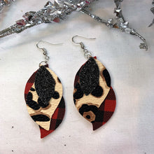 Load image into Gallery viewer, Dear Me It's Buffalo Plaid and Leopard 3 layer Wave Faux Leather Earrings
