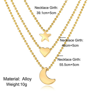 Multi-layer Layered Star, Heart, Moon Necklace - 3 piece set