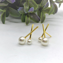 Load image into Gallery viewer, Double Pearl Sterling Silver Stud Earrings