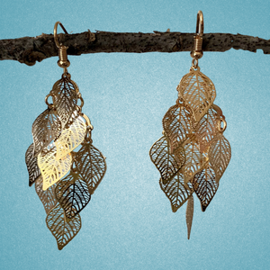 Dangling Filigree Leaf Earrings - (Gold, Silver and  Hematite options)