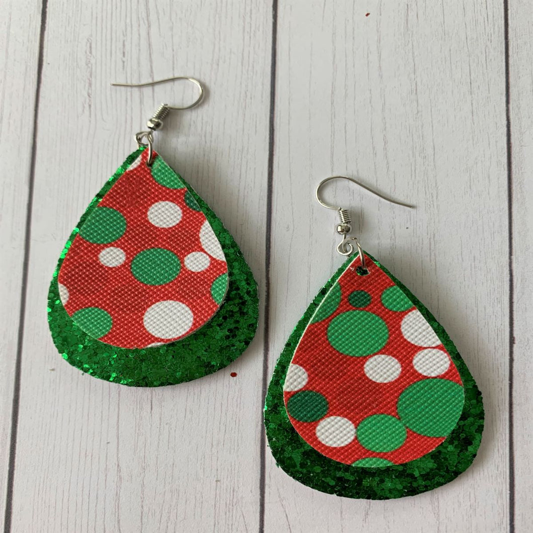 Polka-Dot Lane Christmas Faux Leather Earrings