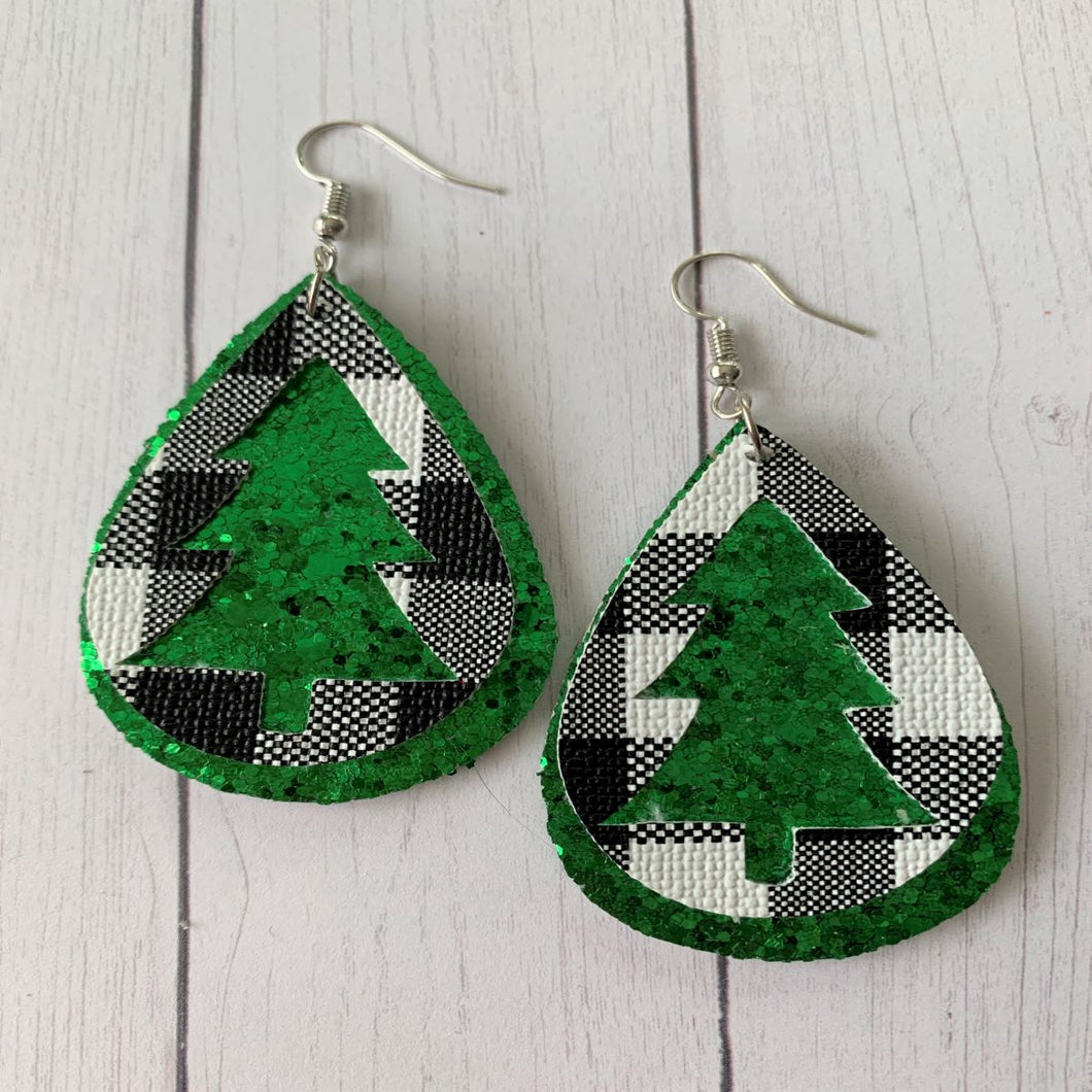 Hollow Christmas Tree Faux Leather and Green Glitter Earrings