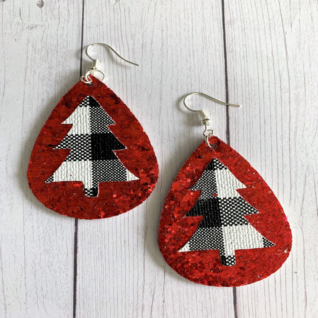 Christmas Tree Faux Leather Glitter Earrings