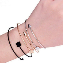 Load image into Gallery viewer, Arrow Bangle Bracelets (Gold, Silver & Black options)