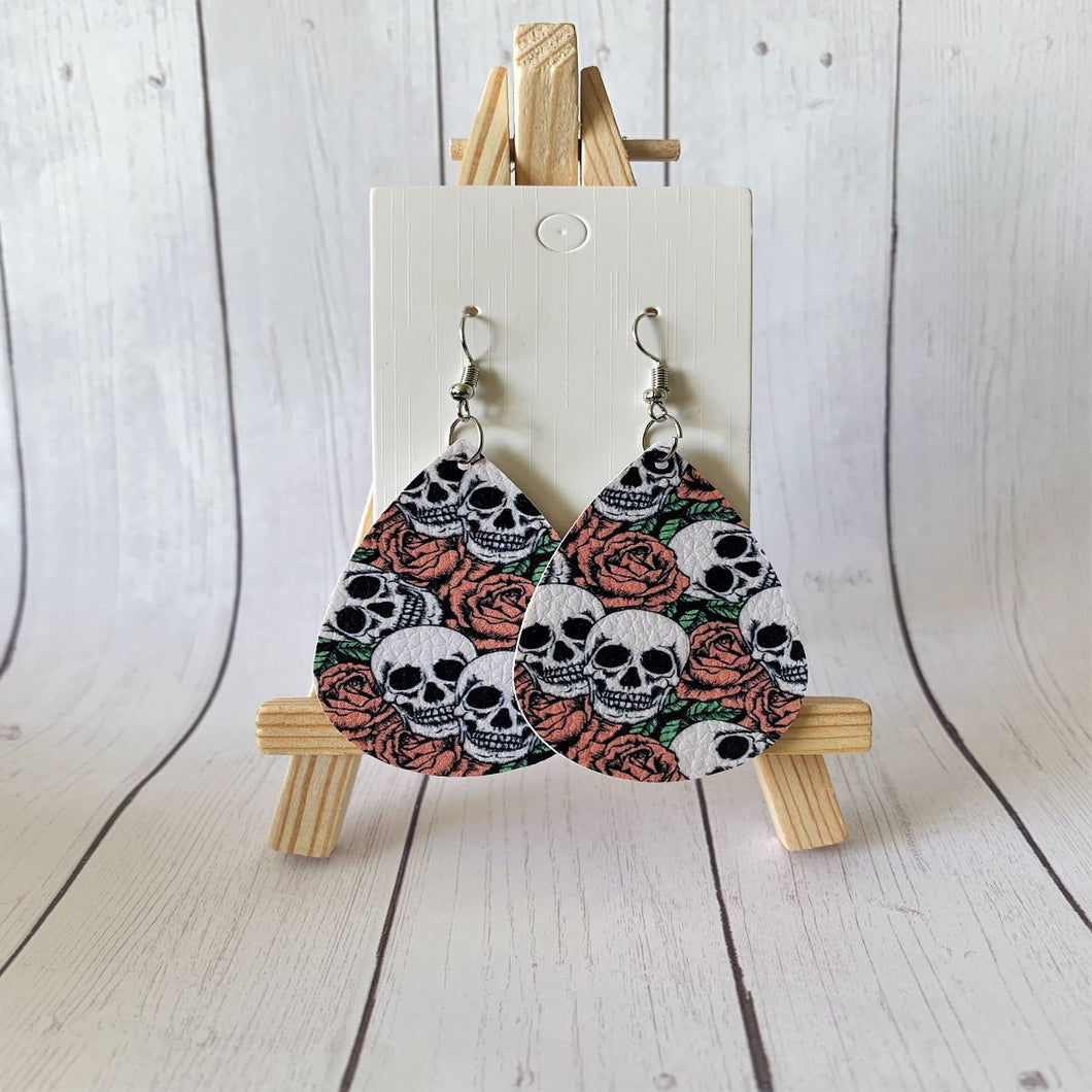Skull & Roses Teardrop Faux Leather Earrings