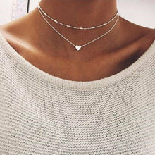 Load image into Gallery viewer, Heart Choker 2 piece Necklace
