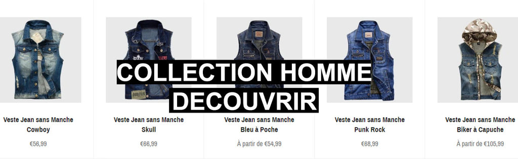 Collection Vestes en jean sans manches homme