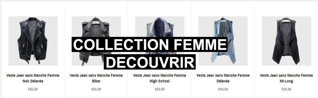 Collection Veste en Jean sans Manche Femme