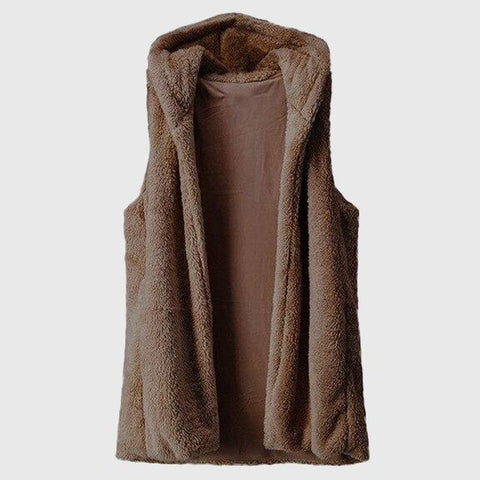 Gilet Long sans Manche Chaud Marron