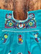 Load image into Gallery viewer, Puebla Hand Embroidered Teal Summer dress