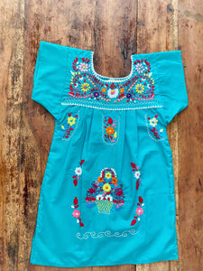Puebla Hand Embroidered Teal Summer dress