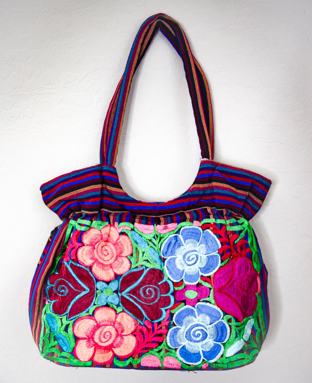 Floral Embroidered Mexican Tote