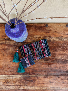 Clutch With Coin Purse with teal tassel