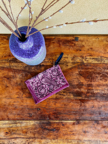 purple floral Embroidered coin purse