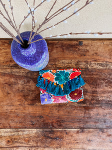 colorful blue embroidered clutch