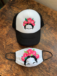 Pink Frida Embroidered Cap And Face Mask