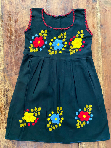 Puebla Hand Embroidered Black Summer Dress