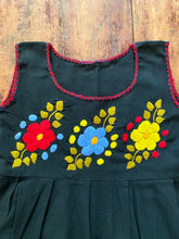 Load image into Gallery viewer, Puebla Hand Embroidered Black Summer Dress