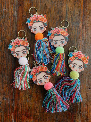 wooden Frida doll keychains!