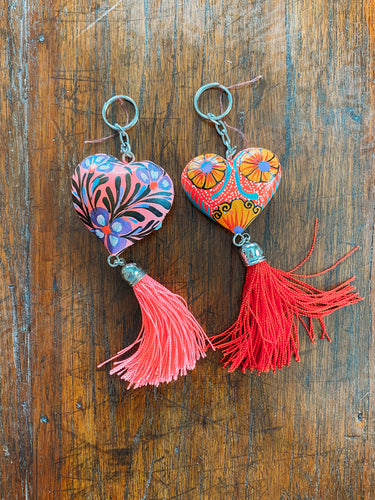 hand painted hearts keychains
