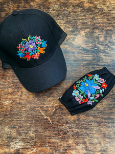 Embroidered floral Cap And Face Mask With Filter set
