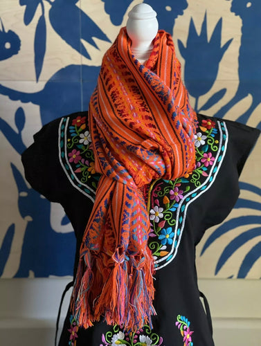Handmade Womens Hand Woven Mexican Pink Rebozo Scarf Cambaya - Chiapas, Mexico