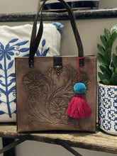 Load image into Gallery viewer, Mexican Hand tooled Leather Bag W/ Pom Tassel