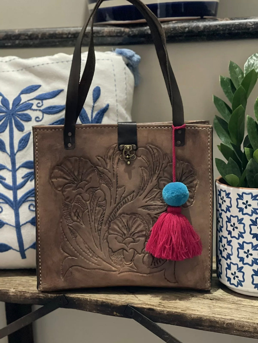 Mexican Hand tooled Leather Bag W/ Pom Tassel