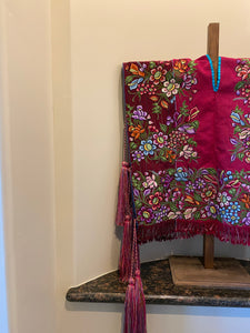 Mexican huipil embroidered Poncho w/ Pom Pom from Chiapas.