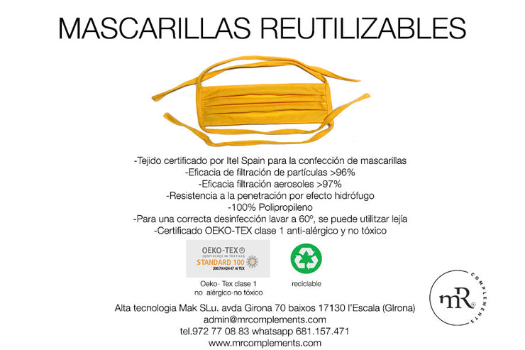 Pack 5 Mascarillas Reutilizables Amarillas - MR Complements